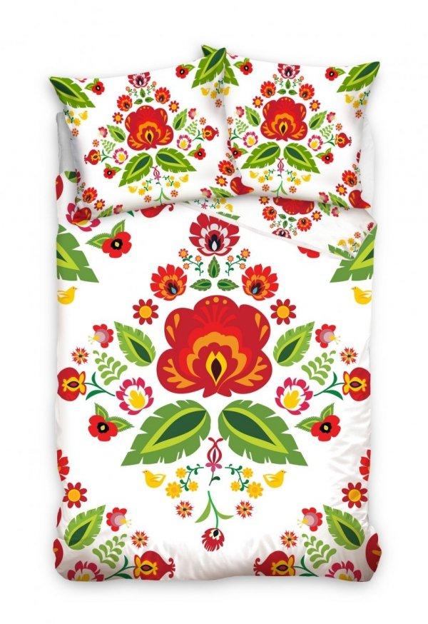 Biała folkowa pościel 160x200 cm - Carbotex 100% bawełna