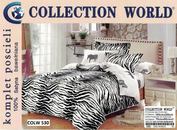 Pościel Collection World 160x200 Biało - Czarna Zebra 100% bawełna wz 530