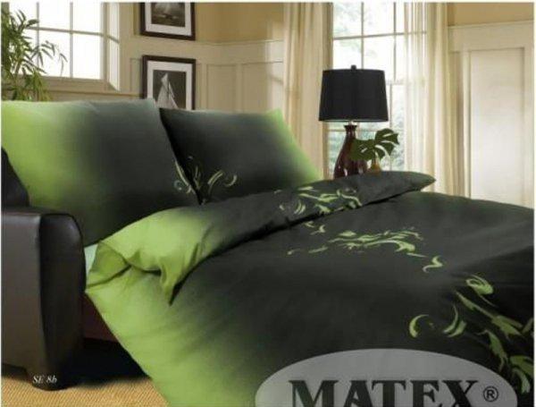 Czarno - Zielona pościel satynowa Matex Exclusive 160x200 Se-8B