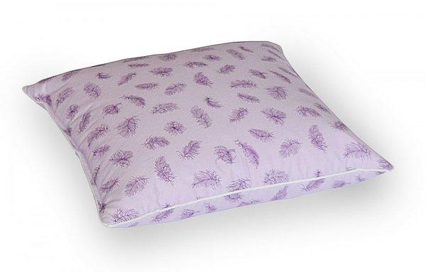 Poduszka 50x60 z piór dartych Fioletowa w fioletowe  piórka