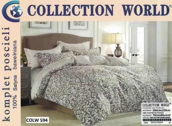 Pościel Collection World 200x220 Brązowa w Kwiaty wz 594