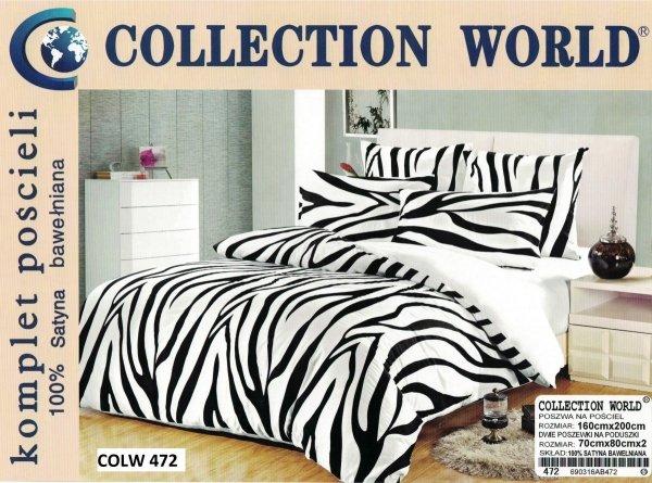 Biało - Czarna pościel Collection World 160x200 Zeberka