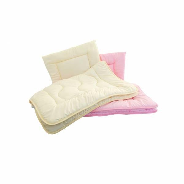 Antyalergiczna kołdra 100 x 135 + antyalergiczna  poduszka 40 x 60. Komplet całoroczny dla dziecka w kolorze różowym
