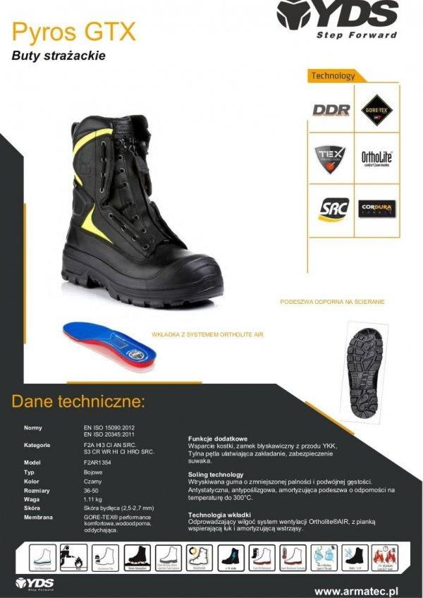 Buty strażackie YDS PYROS GTX z membraną GORE-TEX