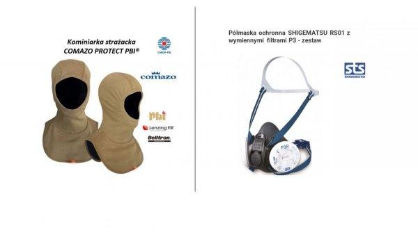 Zestaw 10. Półmaska ochronna STS Shigematsu RS01 z dwoma zestawami filtrów + kominiarka strażacka Comazo PBI