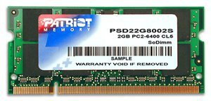 Pamięć Patriot Memory Signature PSD22G8002S (DDR2 SO-DIMM; 1 x 2 GB; 800 MHz; CL6)