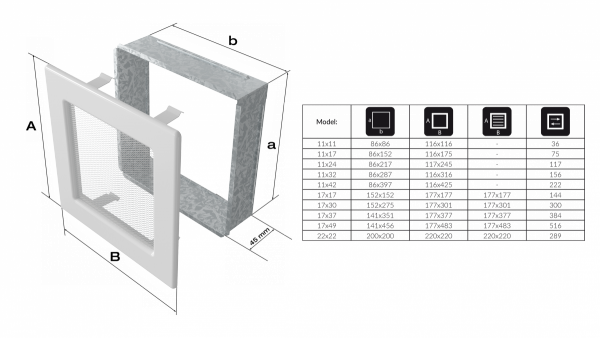 KRATKA kominkowa 17x17 grafitowa