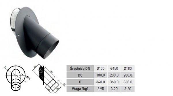 Wkładka kątowa 45° teleskopowa z rurą, rozetą i sznurem o średnicy rury dymowej DN 150mm