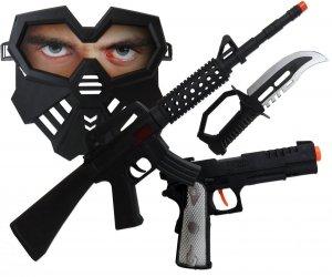 POLICJANT Zestaw PISTOLET Karabin MASKA Nóż 5 el