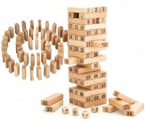 Drewniana WIEŻA Cyferkowa Układanka 54el. KOSTKI