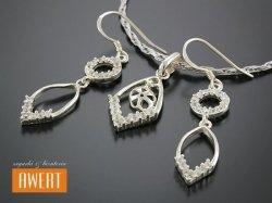 DIKA CRYSTAL srebrny komplet biżuterii z cyrkoniami