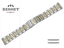 BISSET 20 mm bransoleta stalowa BR110 srebrno-złota