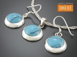 CATE TURQUOISE II srebrny komplet biżuterii z kamieniami