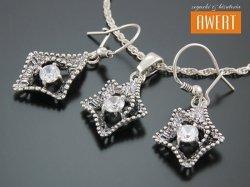 FORENZA CRYSTAL srebrny komplet biżuterii z cyrkoniami
