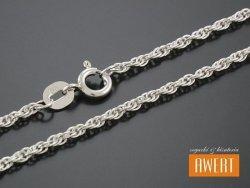 Ankierka podwójna skręcana łańcuszek srebrny 50 cm / 1,8 mm