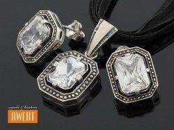 ALMA srebrny komplet z dużymi cyrkoniami