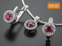 ARFA RED CRYSTAL srebrny komplet biżuterii z cyrkoniami