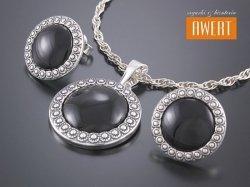 LAIS ONYKS srebrny komplet biżuterii z kamieniami
