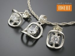MONTI CRYSTAL srebrny komplet biżuterii z cyrkoniami