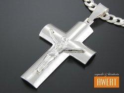 Duży krzyżyk srebrny z Jezusem