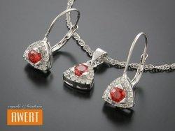 IVREA ROSSO srebrny komplet biżuterii z cyrkoniami