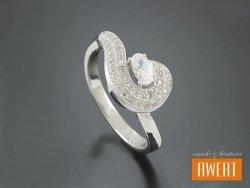 CAGDA CRYSTAL srebrny pierścionek z cyrkoniami roz. 15