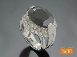 ALICANTE CRYSTAL srebrny pierścień z dużą czarną cyrkonią roz.11