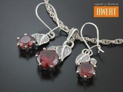 CROSIA RED srebrny komplet biżuterii z cyrkoniami