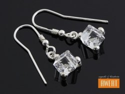 CUBE CRYSTAL kolczyki srebrne z kryształami Swarovski