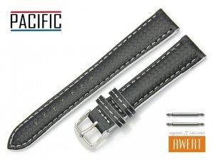 PACIFIC 18 mm CARBON pasek skórzany W76 białe szycie