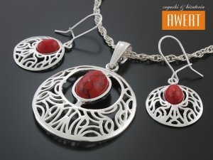 MANRA JASPER srebrny komplet biżuterii z kamieniami