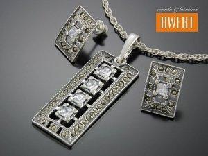 GEDIA MARCASITE srebrny komplet biżuterii z cyrkonią i markazytami