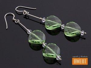TWIST PERIDOT srebrne kolczyki z kryształami SWAROVSKI