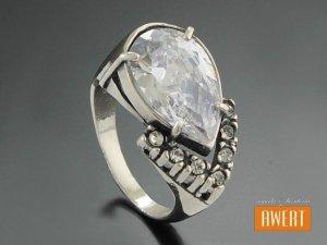 DION CRYSTAL srebrny pierścionek z dużą cyrkonią roz.14