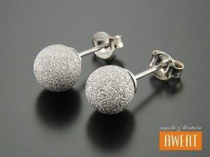 BEAD SAND SILVER kolczyki srebrne kulki 8 mm