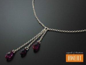 MIRANDA RED srebrny naszyjnik kryształy Swarovski