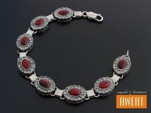ELINA srebrna bransoleta z jaspisem i cyrkoniami