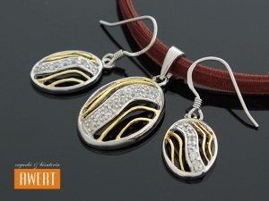 BETTOLA srebrny komplet biżuterii złocenie cyrkonie