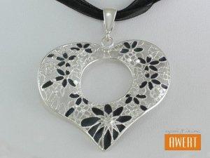 CORAZON NEGRO srebrny ażurowy wisior SERCE