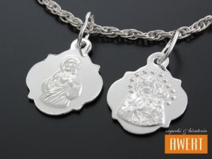 Medalik srebrny dwustronny Serce Jezusa - Matka Boska Częstochowska