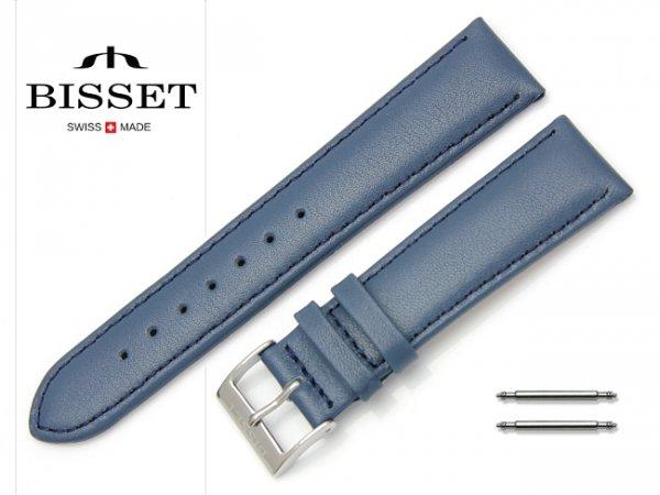 Pasek skórzany do zegarka 20 mm BISSET BS106 niebieski