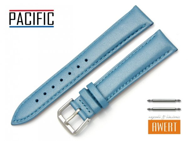 PACIFIC W114 pasek skórzany 18 mm niebieski