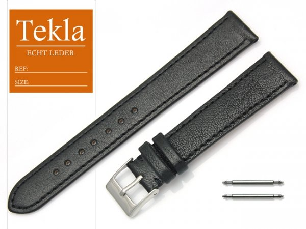Pasek do zegarka skórzany 18 mm XL TEKLA PT69 czarny