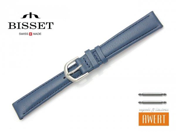 Pasek skórzany do zegarka 14 mm BISSET BS106 niebieski
