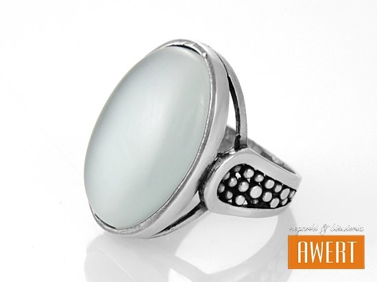 ITA BIANCO srebrny pierścionek z kamieniem roz.14