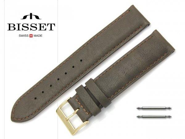 Pasek skórzany do zegarka 20 mm BISSET BS108 brązowy