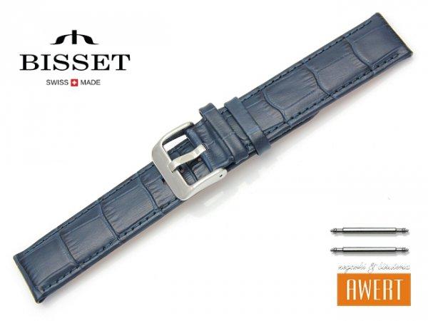 Pasek skórzany do zegarka 20 mm BISSET BS152 niebieski