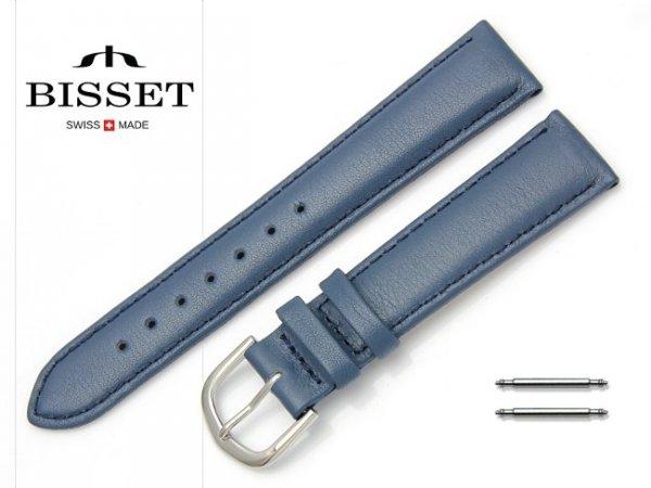 Pasek skórzany do zegarka 18 mm BISSET BS106 niebieski