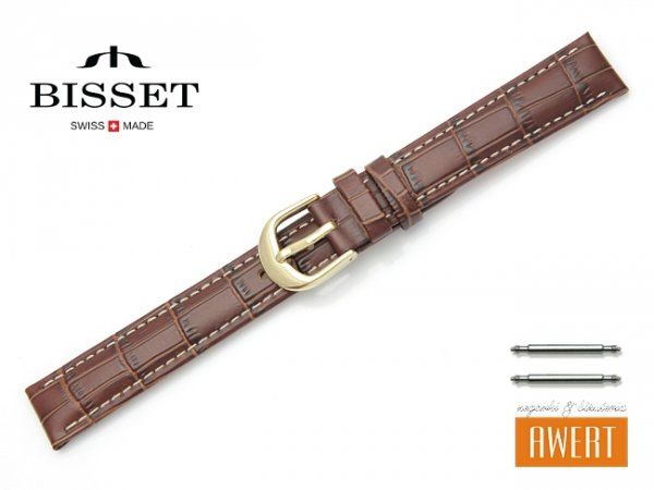 Pasek skórzany do zegarka 16 mm BISSET BS163 brązowy