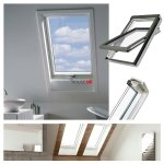 Dachfenster Fakro FTU-V U3 Schwingfenster aus weiß lackiertem Holz PU-Kunststoff-Lack, Dauerlüftung V40P, topSafe-System Uw: 1,3 Polyurethan-Kunststofflack